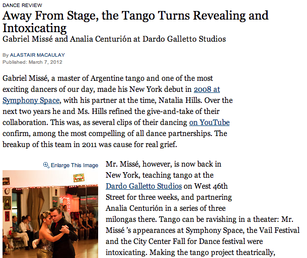 Away From Stage, the Tango Turns Revealing and Intoxicating